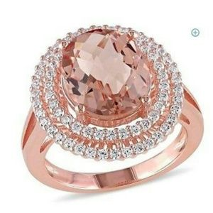 Morganite  and white topaz sterling silver